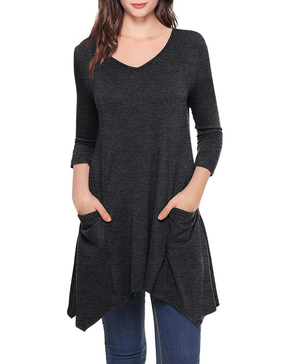 She's Style Women's Cotton 3/4 Sleeve Lace Scoop Neck A-Line Tunic Blouse Tops Black Size XXL by She's Style