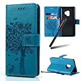 Galaxy S9 Stand Case,Samsung Galaxy S9 Wallet Case,Galaxy S9 2018 PU Leather Case,SKYMARS Cat Tree Embossed PU Leather Flip Kickstand Cards Slot Cash Pockets Wallet Magnetic Closure Book Style Shockproof Case for Samsung Galaxy S9 2018 Tree Blue