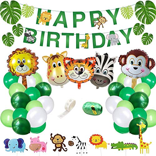 Yancan Jungle Safari Theme Birthday Party Supplies, Favors for Kids Boys Birthday Baby Shower Decor, Party Birthday Animal Balloons Decorations (Unique Birthday Party Themes For 1st Birthday)