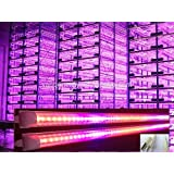 """48"""" T8 LED Tube Plant Grow Light 4-foot Long Fixture 18W (100W Eqv) 120 Volt Red Blue Growing Fill Lights for Indoor Plant Germinating Hydroponic Flowing Seeding Green House Gardening Hydroponics (Full Fixture with US Plug Wire, Bracket and Linkable Connection)"""