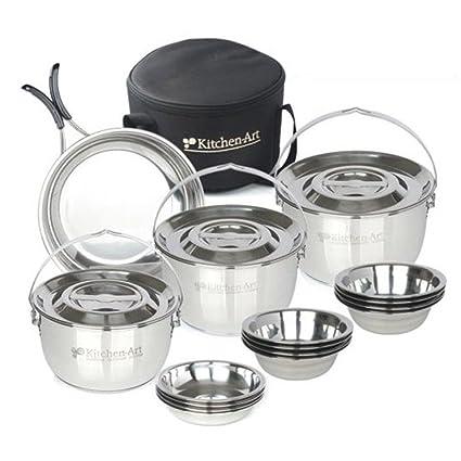 Cocina (Juego de ollas y sartenes 20P bolsa de camping utensilios de cocina portátil cocina