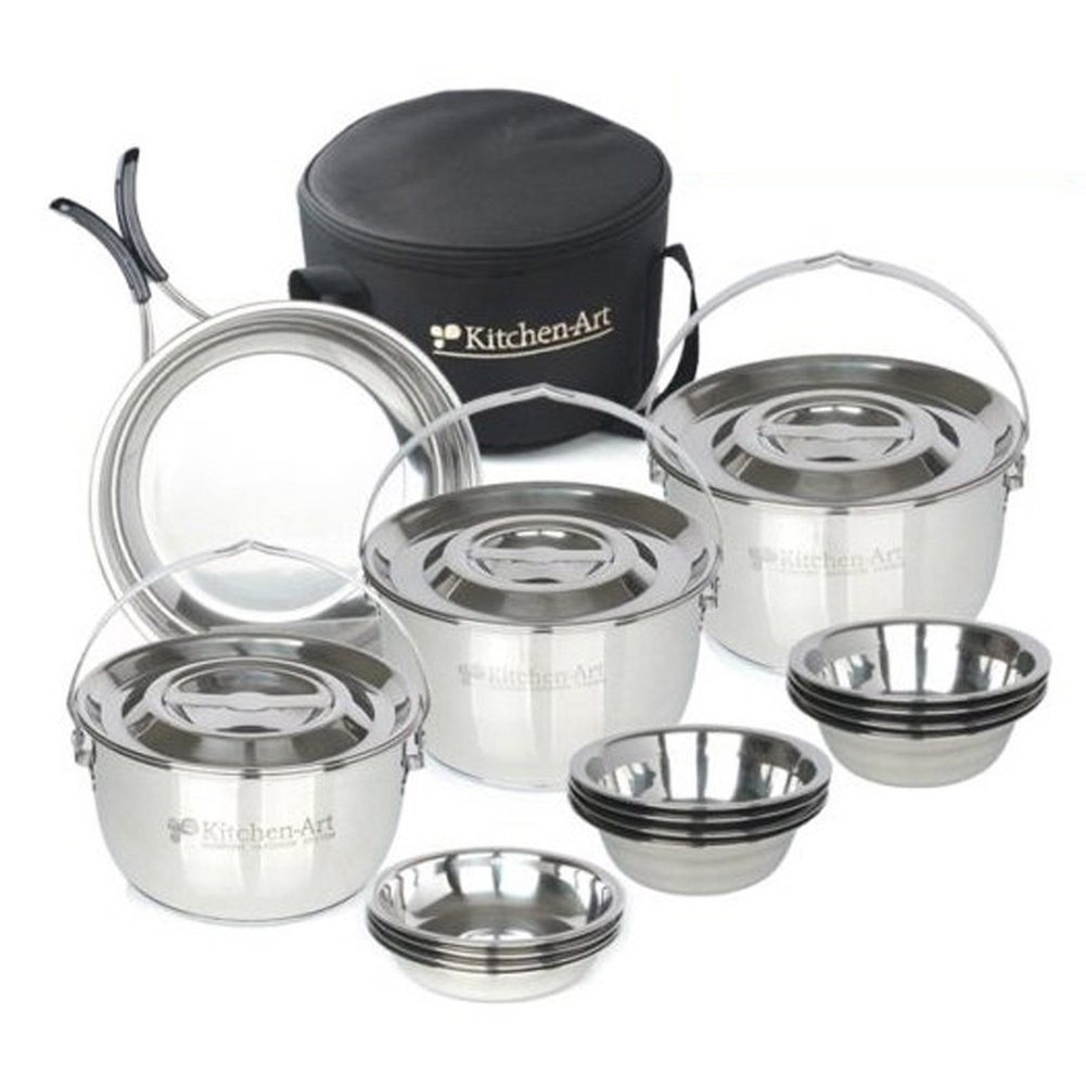Kitchen Art Portable Pots and Pans 20P Camping Cookware Portable Bag Cooking Kit