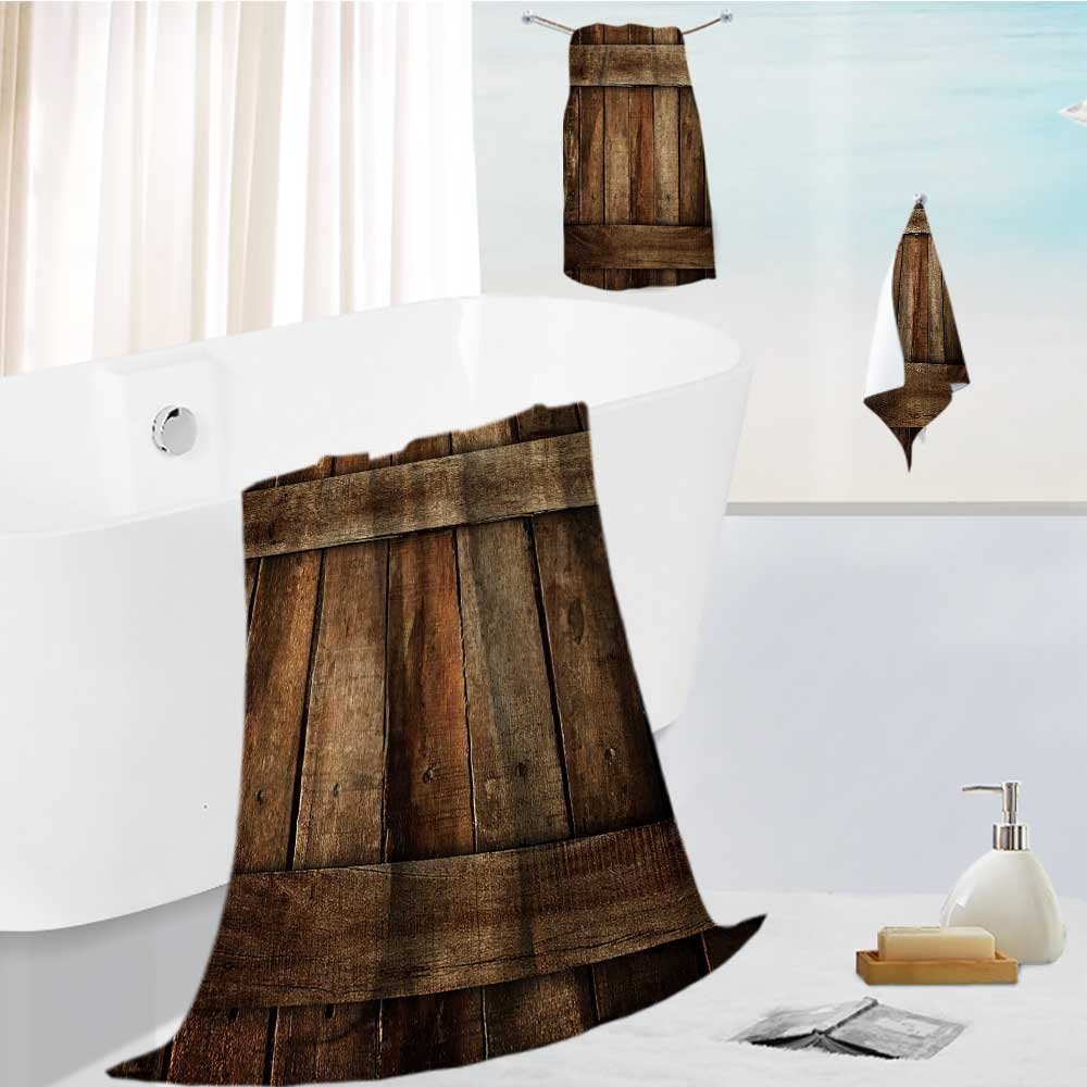 Auraise Home luxury towel set old wood plank Odor Resistant - Moisture Wicking 13.8''x13.8''-11.8''x27.6''-27.6''x55.2''