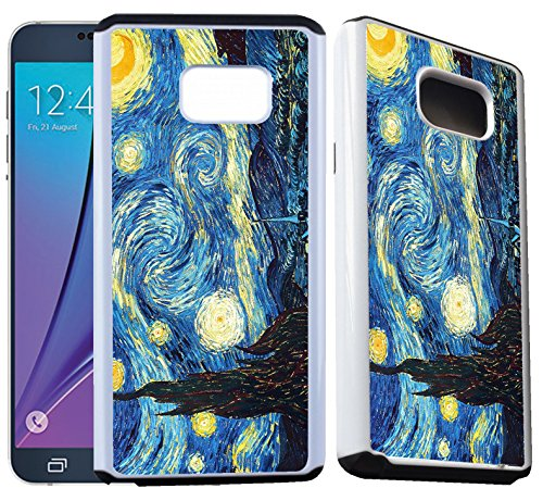 Van Gogh Note (Galaxy Note 5 Heavy Duty hybrid Armor Designer Case - The Starry Night by Vincent Van Gogh - Ultra Durable Dual Layer Protective hybrid Plastic with Soft RUBBER Snap On Back Case / Cover.Fits (Note 5))
