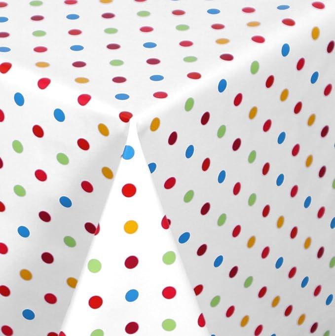 Glatt Punkte Wei/ß Rot 100x140 cm WACHSTUCH TISCHDECKE abwischbar Meterware Gr/ö/ße w/ählbar
