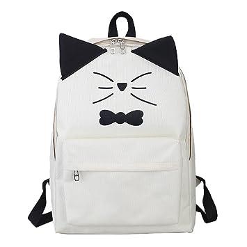 Widewing Travistar Bolsos Mochilas Mujer Casual Bolso de hombro impresa gato encantador de la historieta del cuero de la PU de las mujeres (beige): ...