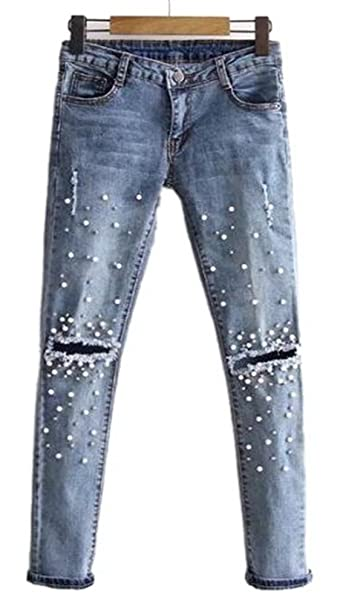 Womens Classic High Waist Slimming Fit Stretch Pearl Jeggings Skinny Jeans