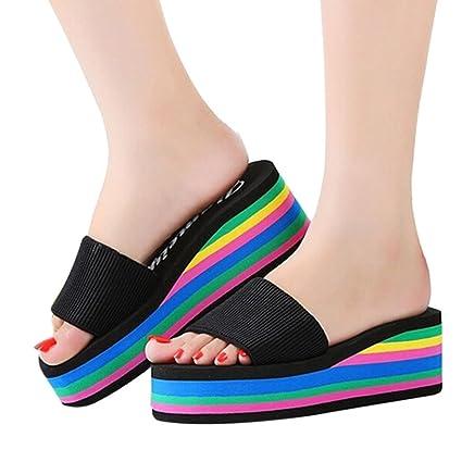 Sunbona Women s Summer Fashion Rainbow Anti-slip Peep Toe High Platform  Wedge Sandals Casual Ladies