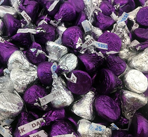 Large Kiss (Hershey's Kisses, Mix Milk Chocolate and Dark Chocolate Kisses Purple, Silver Foil (Pack of 2 Pound))