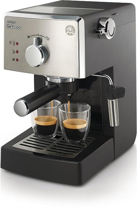 Saeco HD842501 - Cafetera espresso, manual, 15 bares, deposito agua 1,2L, color negro