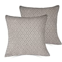 Set of 2 Throw Pillow Covers Coastal Cushions 100% Cotton Home Decorative 20 x 20 inch(50 x 50cm) Soft Pillow Case Covers Invisible Zipper Pillow Case No Pillow Insert Furniture Cushions 02 (03-Gray(20×20 in))