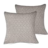 Decorative Pillow Cover - Set of 2 Throw Pillow Covers Coastal Cushions 100% Cotton Home Decorative 20 x 20 inch Soft Pillow Case Covers Invisible Zipper Pillow Case No Pillow Insert Furniture Cushions(03-Gray(20×20 in))