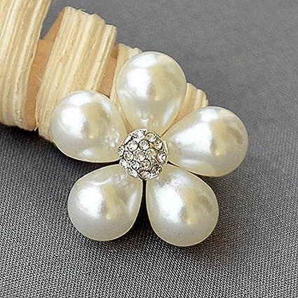 1756abbf1f Amazon.com: 5 Rhinestone Button Embellishment Pearl Crystal Wedding ...