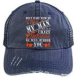 He Is A Crazy Electrician Hat, I Love My Electrician Trucker Cap (Trucker Cap - Navy)