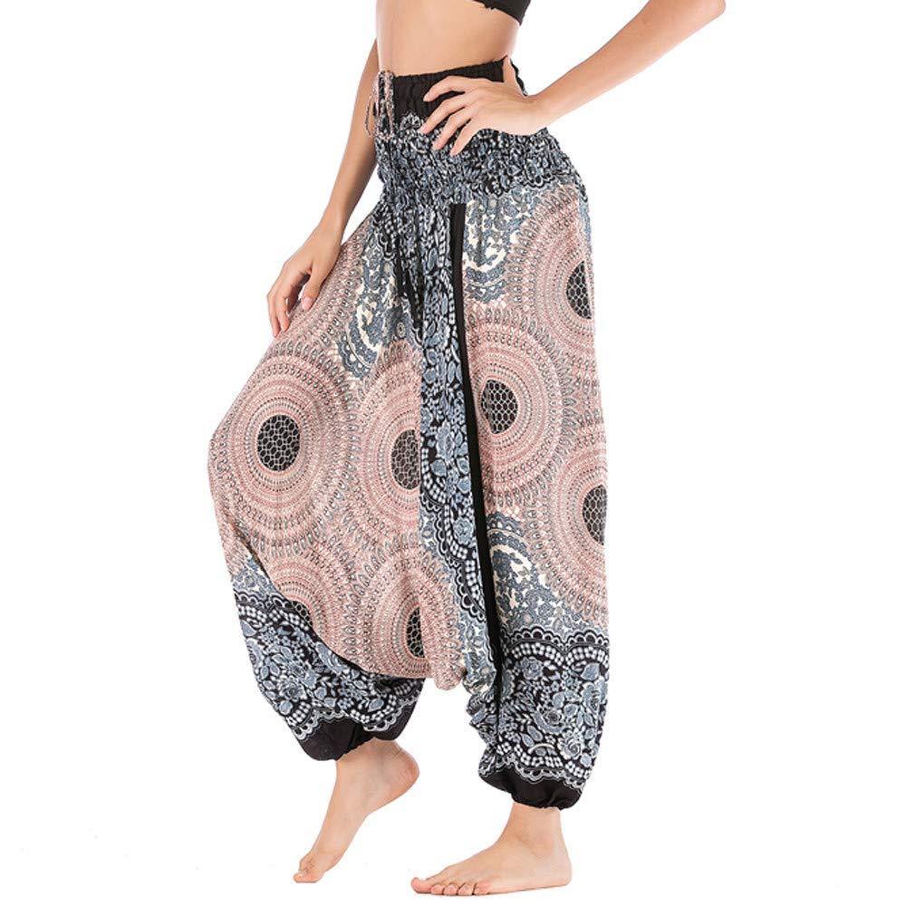 Harem Pants Women's Hippie Bohemian Yoga Pants One Size Aladdin Harem Hippie Pants Jumpsuit Smocked Waist 2 in 1 (Free, White) by BingYELH Yoga (Image #4)