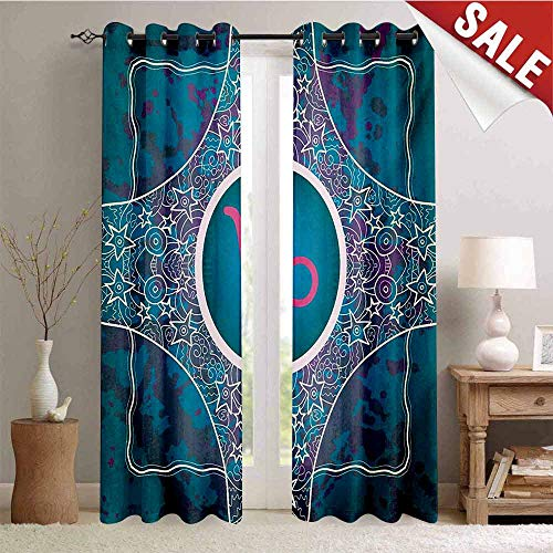 Hengshu Zodiac Capricorn Drapes for Living Room Doodle Style Stars and Flowers on a Grunge Backdrop with Paint Stains Window Curtain Fabric W72 x L96 Inch Multicolor