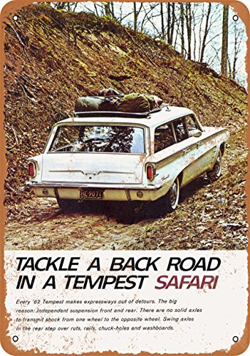 (Wall-Color 10 x 14 Metal Sign - 1962 Pontiac Tempest Station Wagon - Vintage)