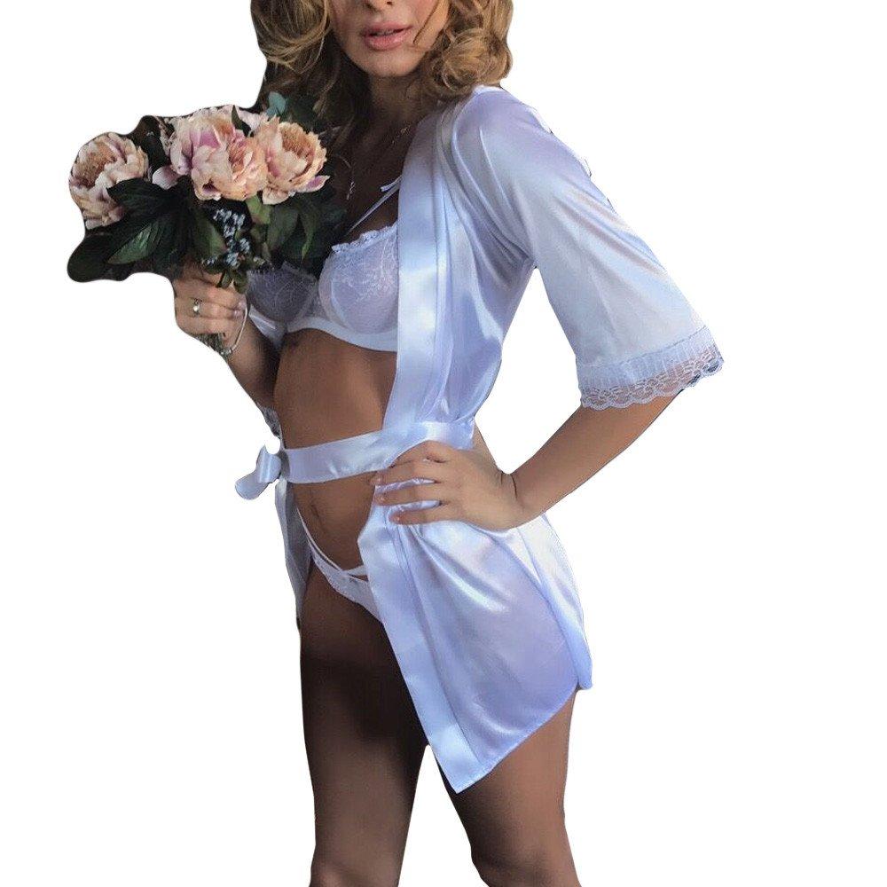 Women Sexy Long Silk Kimono Dressing Gown Babydoll Lace Lingerie Bath Robe White