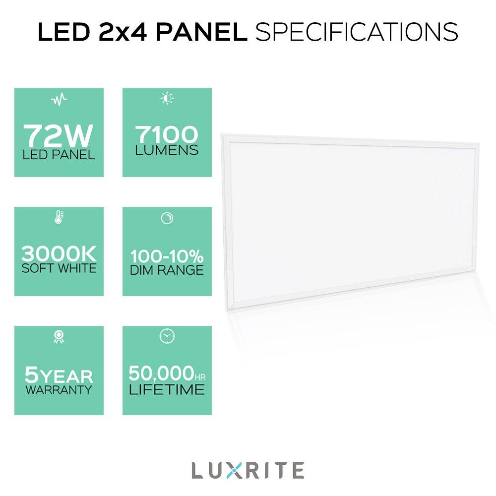 Luxrite LED Light Panel, 2x4 FT, 72W, 3000K Soft White, 7100 Lumens ...