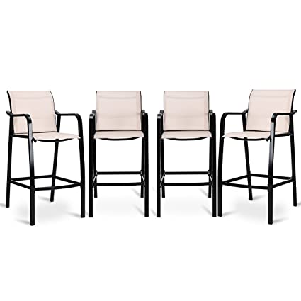 Admirable Costway Set Of 4 Bar Chairs Modern Style Counter Height Stool Steel Frame Sling Dining Chairs Bar Stools Indoor Outdoor Patio Backyard Kitchen Cjindustries Chair Design For Home Cjindustriesco