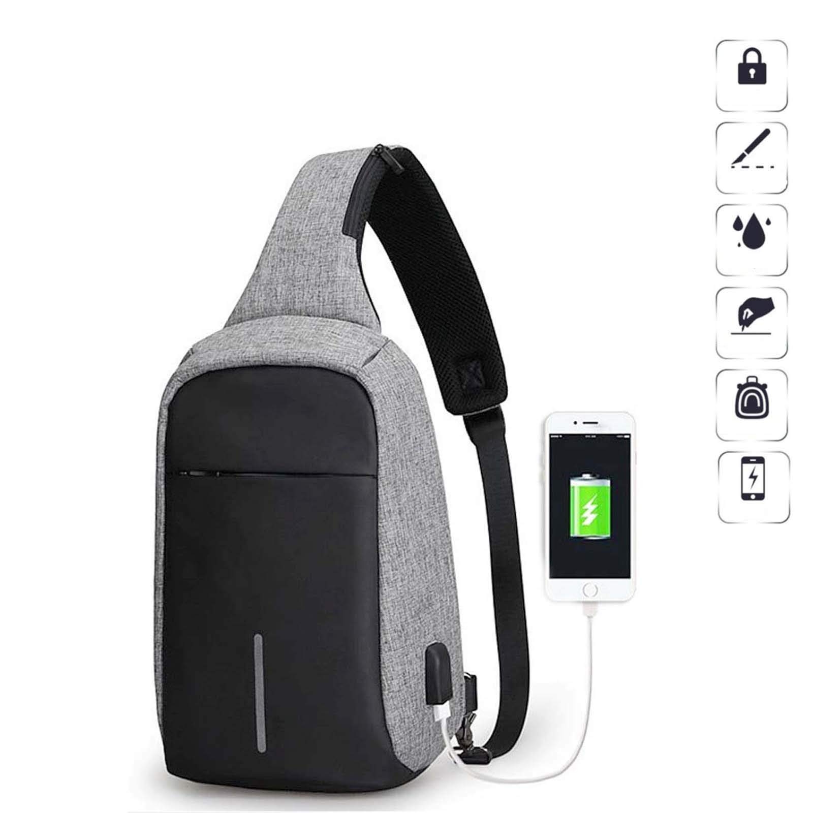 SunTrade Men Anti Theft Sling Bag Shoulder Chest Cross Body Backpack,Casual,Daypack,for Travel Camping Hiking (Gray)