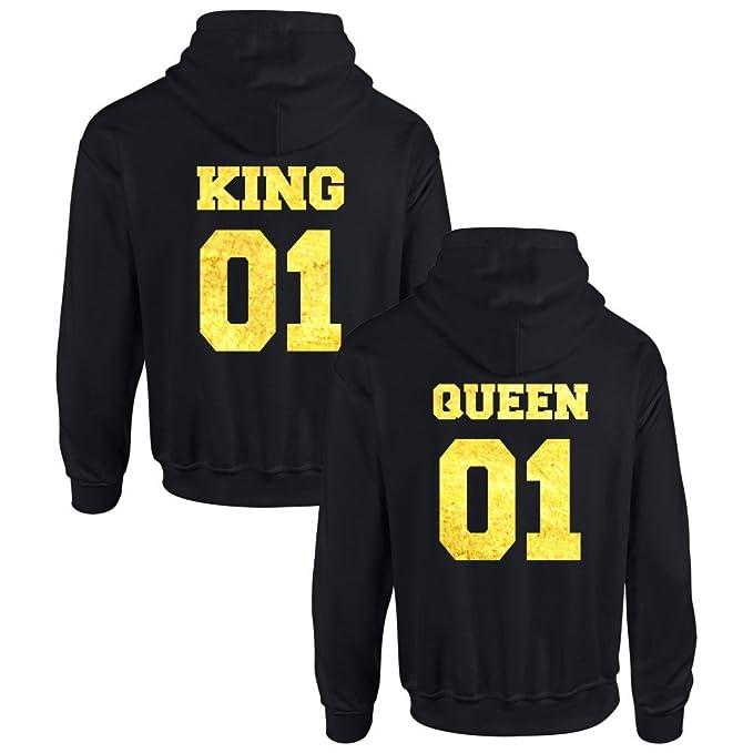 Pack de 2 Sudaderas Negras para Parejas, King 01 y Queen 01, Dorado (