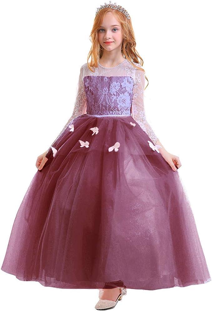 IMEKIS Newborn Baby Flower Girl Dress Princess Lace Tutu Bowknot Skirt Ruffle Party Dress Wedding Birthday Holiday Dress Formal Christening Gown Toddler Kids Pageant Ball Gown