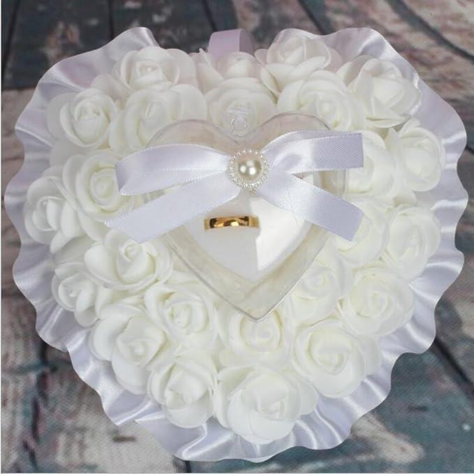 bpblgf Novia Arco Forma de corazón Espuma Rose heirate Anillo Almohada, 01, 17 * 16cm: Amazon.es: Hogar