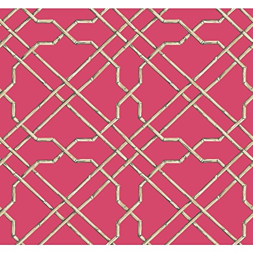 - York Wallcoverings Tropics Bamboo Trellis Removable Wallpaper, Bright Pink, Beige, Brown, White