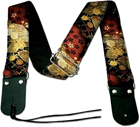TP-STRAPS 和柄ストラップ・扇面/黒-赤 tiny products ギターストラップ 京都 金襴生地使用 made in Japan