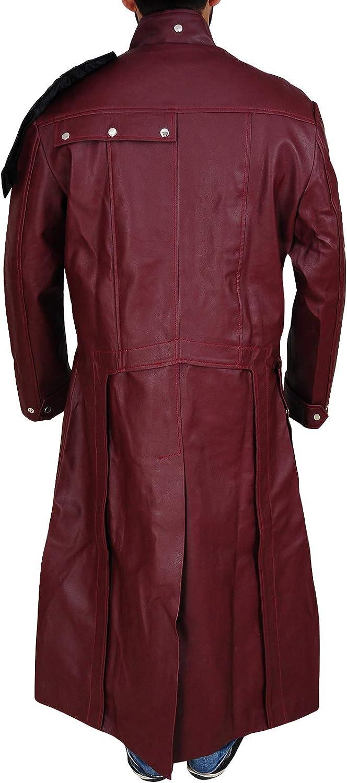 TrendHoop Men Maroon Faux Leather Galaxy Trench Coat