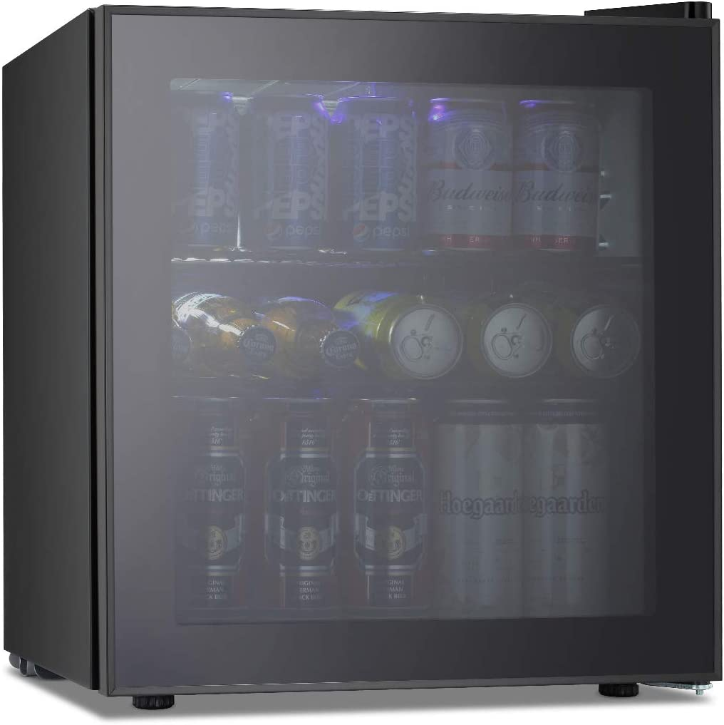OKADA Beverage Refrigerator or Wine Cooler 60 Cans or 17 Bottles with Glass Door for Beer, Soda or Wine Mini Fridge Used Under Counter in the Room, Office or Bar Drink Freezer for Party