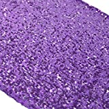 TRLYC 12 by 108-Inch 100 Pieces Purple Sequin Table Runner for Wedding