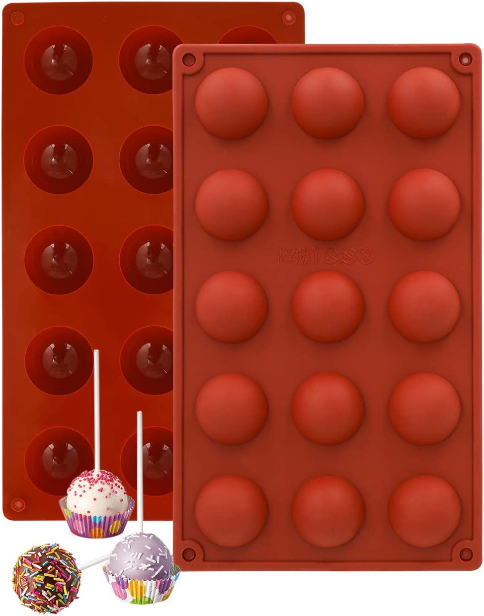 Tingoo Hot Chocolate Bomb Silicone Semi Sphere Molds, Non Stick, Food-Grade Round Silicone Mold for Chocolate, Cake, Jelly, Pudding,Baking Supplies 15 Holes(2pcs)
