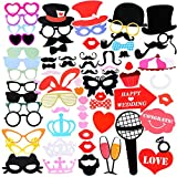 Photo Booth, 75pcs Colourful Set Photo Prop Moustache Wedding Party/ Hen Do Party/ Stag Night Game/ Birthday Party/ Family Reunion/ Graduation Party, Christmas and Any Other Festival and Parties