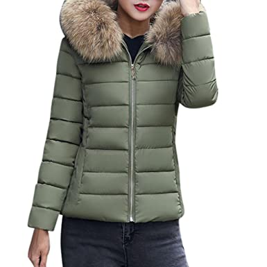 13923896f92f0c Damen Daunenjacke URSING Mode Einfarbig Beiläufig Dickere Winter Slim Fit  Mantel mit Fell Kapuze Draussen Daunenmantel