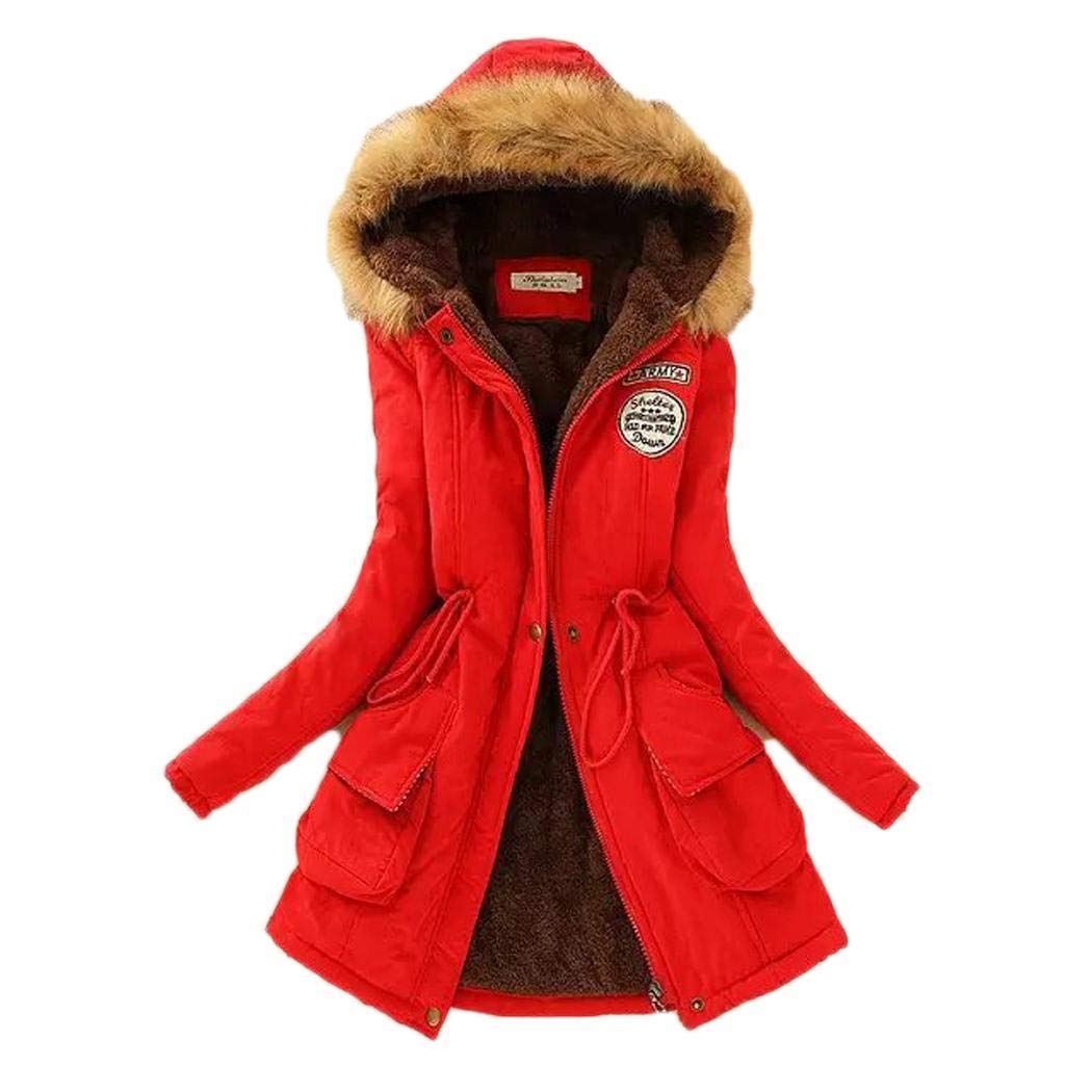 Benro Women Winter Warm Patchwork Coat Fashion Hooded Long Sleeve Casual Red by Benro