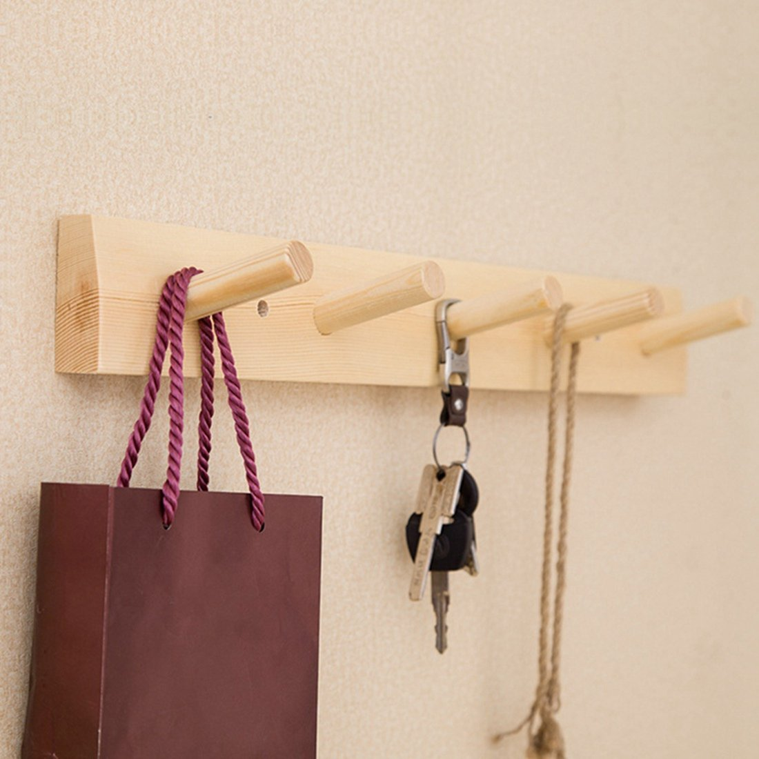 Jiyaru Wooden Coat Rail Rack Hook Wall Mounted Clothes Hanger Hat Holder Burlywood by Jiyaru (Image #5)
