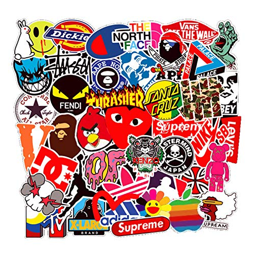 100 Pcs Fashion Brand Stickers for Laptop Stickers Motorcycle Bicycle Skateboard Luggage Decal Graffiti Patches Stickers for [No-Duplicate Sticker Pack] (Best Plastic Skateboard Brands)