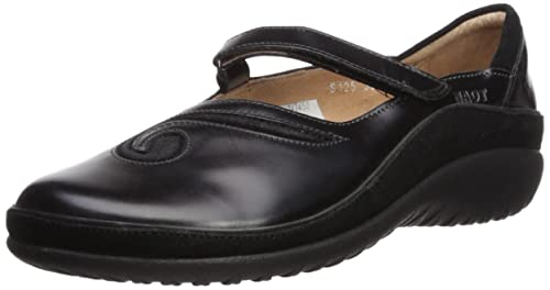 Naot Women's Matai Mary Jane Flat, Black Madras Leather/Black Suede, 35 EU