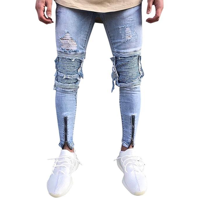 HaiDean Pantalones Pitillo De Mezclilla para Hombres Pantalones Pitillo  Modernas Casual De Mezclilla Rasgados Slim Fit Stretch con Cremallera  Pantalones ... 47afeb5c9bb