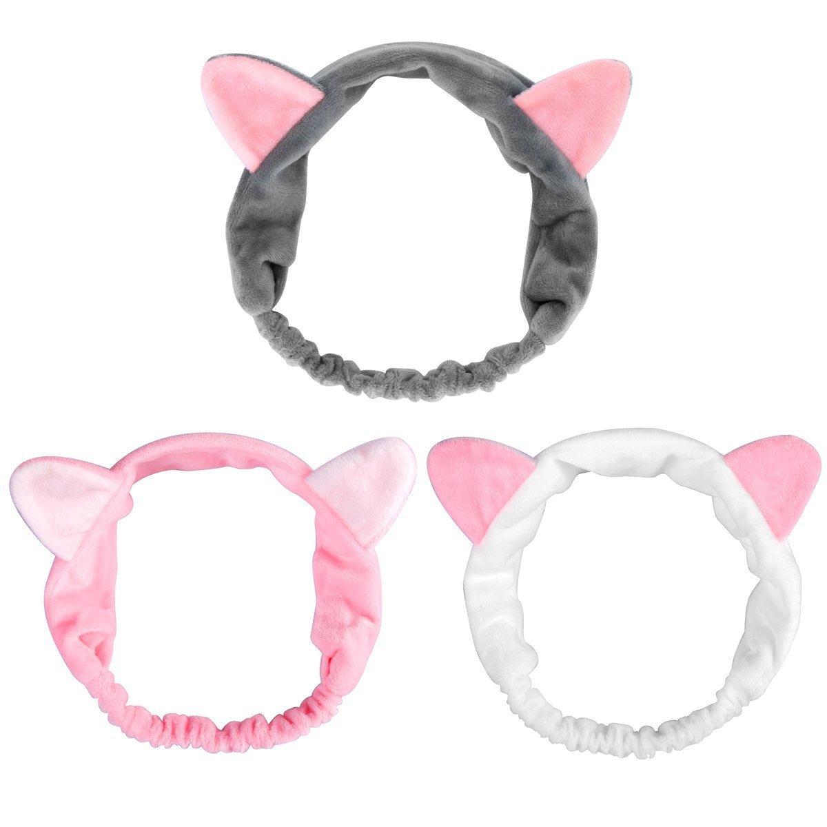 Dreamlover伸縮性のあるビロード製の猫耳ヘアバンド シャワー マスク 洗顔 メイク 落とし 可愛くて快適な猫耳猫耳ヘッドバンドド 女の子、レデー用のヘアバンド 全3色選べる(ホワイト、ピンク、グレイ)(3個) B075JCFVYS