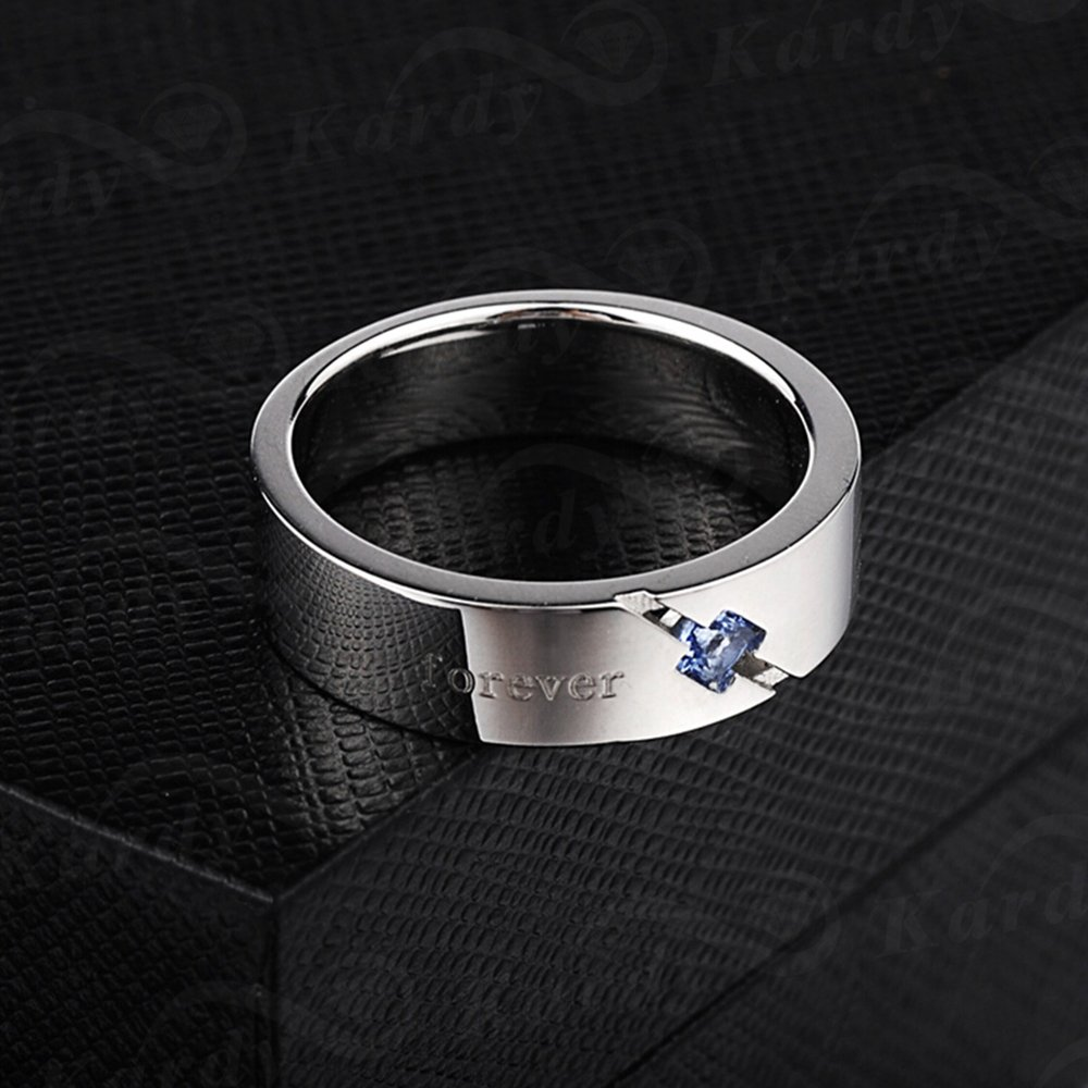 Men's Natural Blue Spinelle Gemstone Solid 925 Silver Gold White Plated Engagement Wedding Promise Fashion Band Ring Set by Kardy (Image #3)