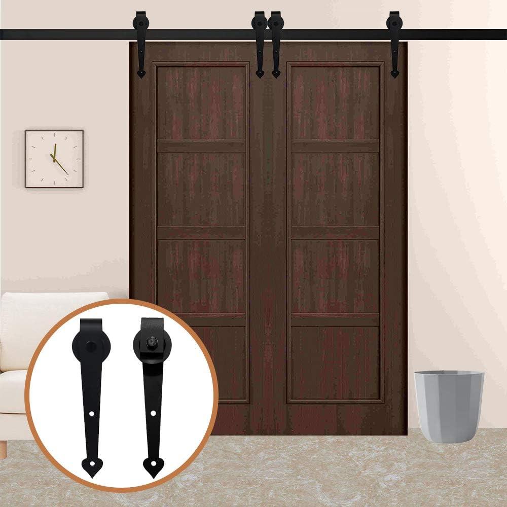 LWZH - Kit de accesorios para puerta corrediza de granero de 11 pies para perchas de doble puerta con forma de corazón negro (cada puerta mide 33 pulgadas): Amazon.es: Bricolaje y herramientas