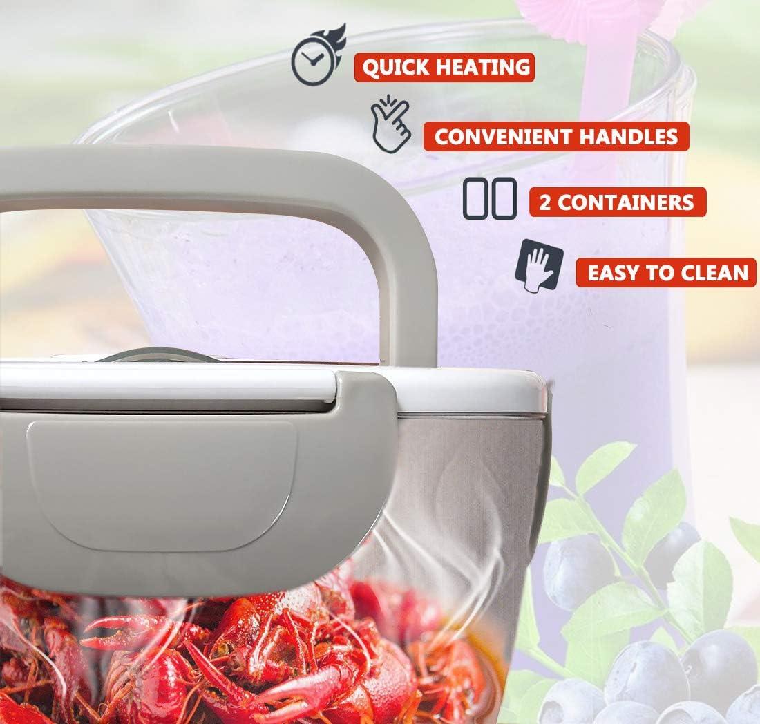 Fiambrera el/éctrica comida t/érmico Lunch Box Fiambreras bento Uso en coche el/éctrica con Bandeja extra/íble acero inoxidable Recipiente de comida t/érmico 12V