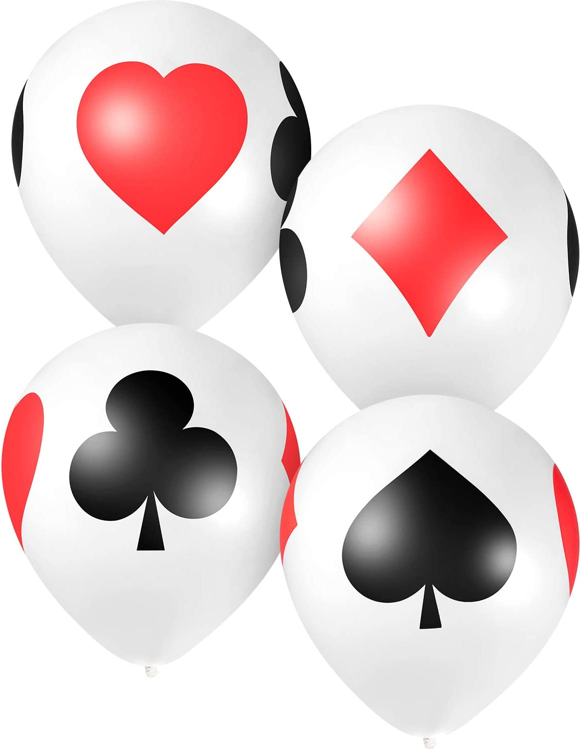 12 Inch Casino Card Night Latex Balloons, 50 Pack Poker Balloons Casino Party Balloons, Casino Night Poker Birthday Decorations
