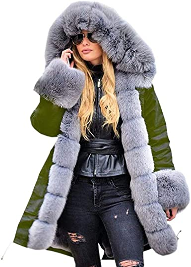 Womens Winter Coat Warm Thicking Plush Hooded Jacket Windproof Raincoat Plus Size Outwear
