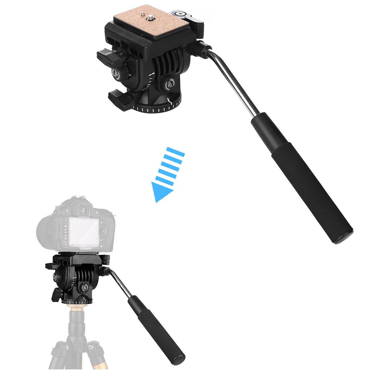 Video Camera Tripod Fluid Head, Papaler Action Fluid Drag Pan Head For Canon Nikon Sony DSLR Camera Camcorder Shooting Filming