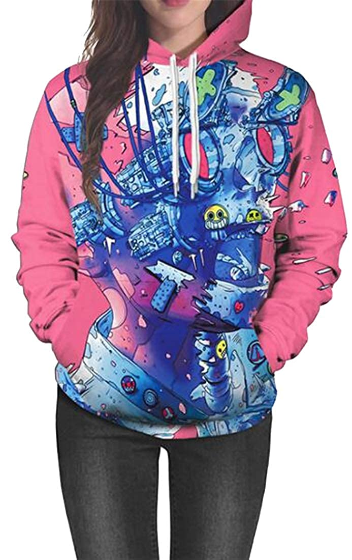 Jofemuho Women Graffiti Print Pockets Halloween Fashion Drawstring Pullover Hoodie Sweatshirt