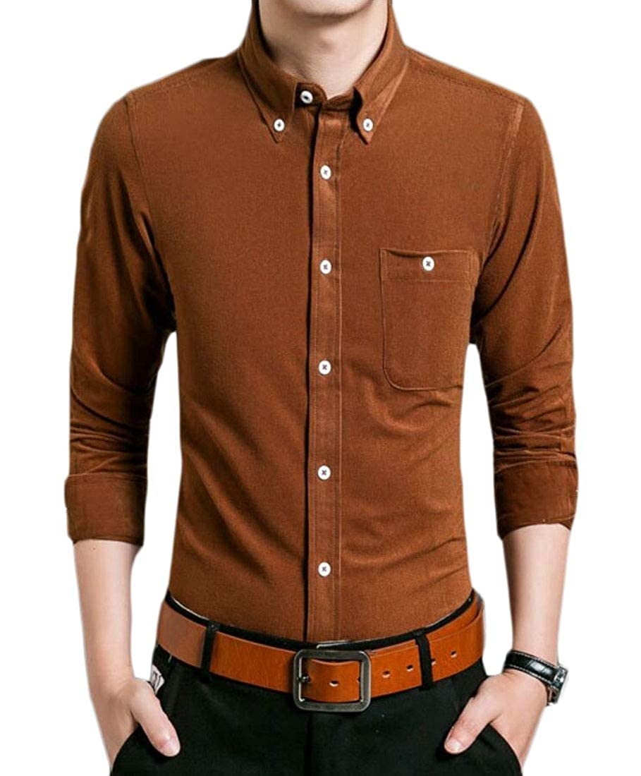 Mens Slim Solid Leisure Corduroy Long Sleeve Button Down Shirts